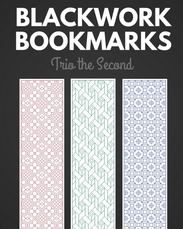 blackwork bookmarks trio second pattern cover preview