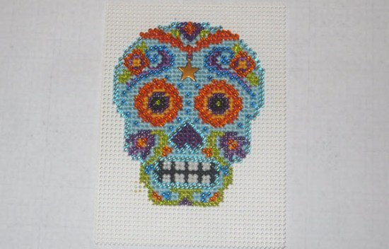 Finished Mill Hill Azul Calavera Cross Stitch Kit Project