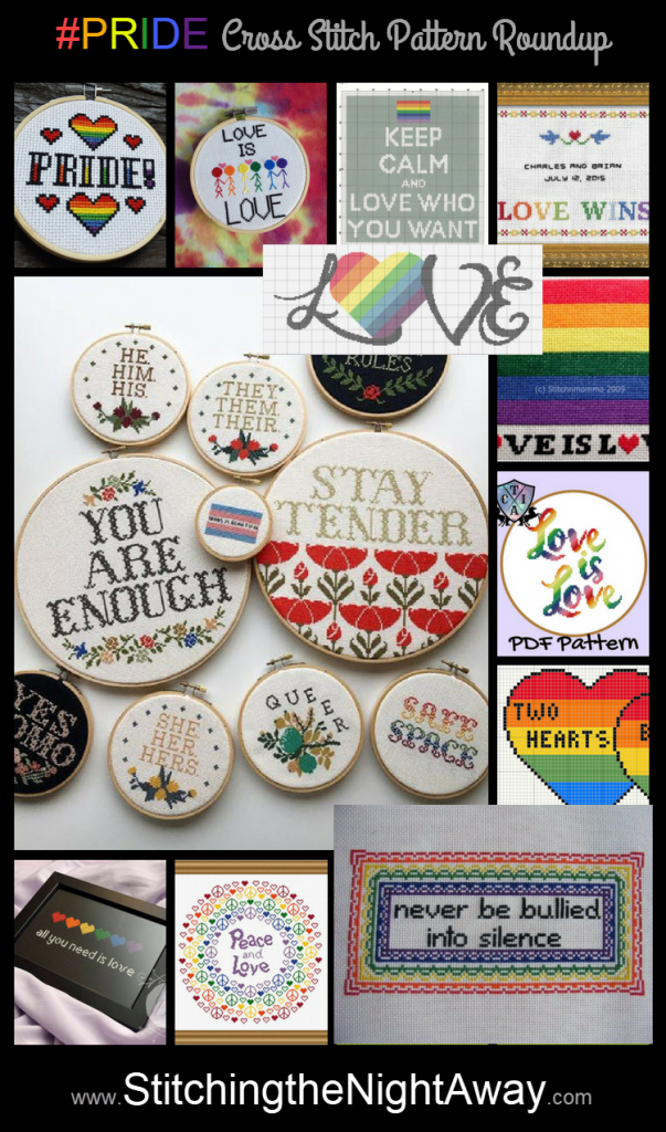 LGBTQ cross stitch pattern roundup pinnable social media image