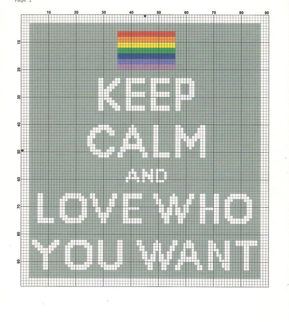 Keep Calm and Love Who Want cross stitch pattern by PrettyWittyPatterns on Etsy