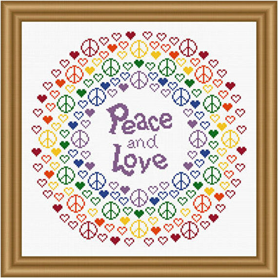Peace and Love rainbow cross stitch pattern from Susan Saltzgiver