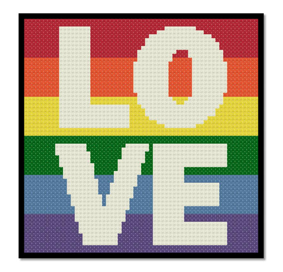 Rainbow Stripes Love is Love Free Cross Stitch Pattern from Stitching the Night Away