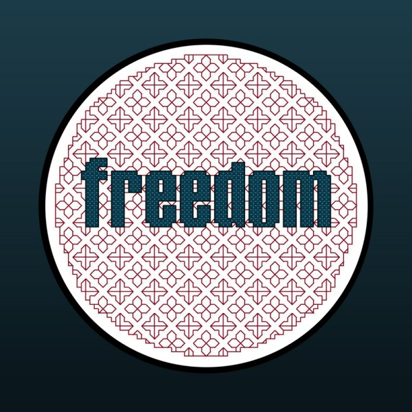 FREEDOM patriotic cross stitch and blackwork pattern designed to fit inside a 5-inch hoop