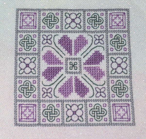 Knots and Blocks Quilt Inspired Cross Stitch Ornament (finished photo)