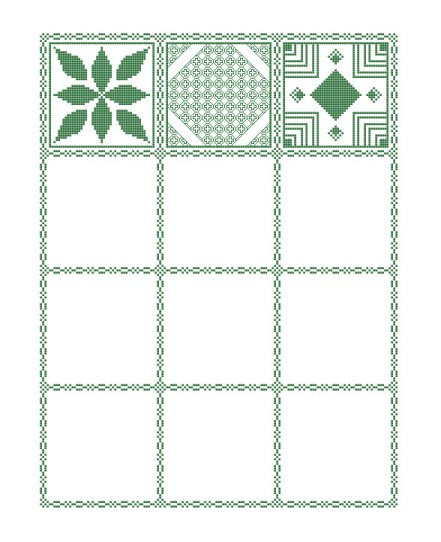Preview of the mystery sampler cross stitch pattern including the first three parts released.