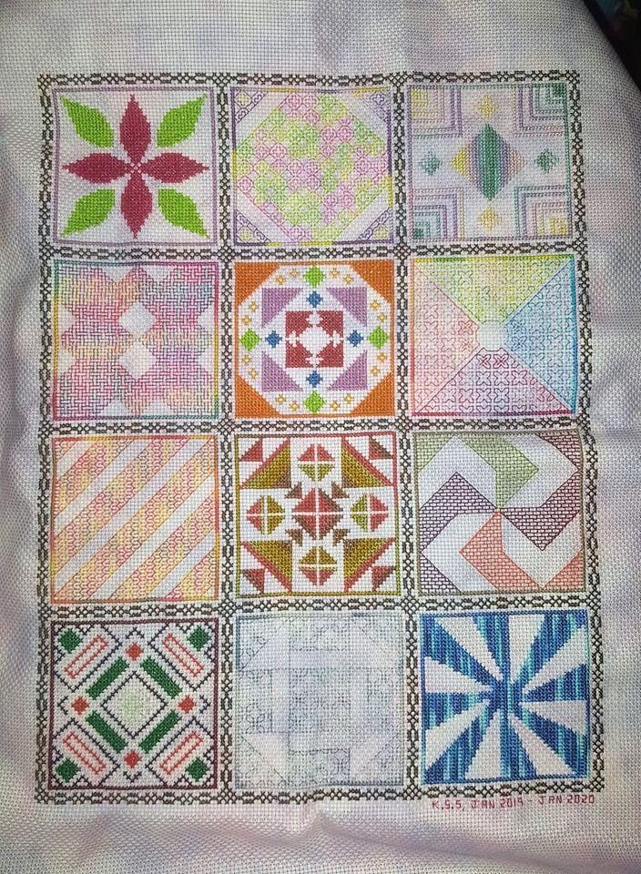 2019 Cross Stitch and Blackwork Stitchalong project stitched by Karen Stephenson