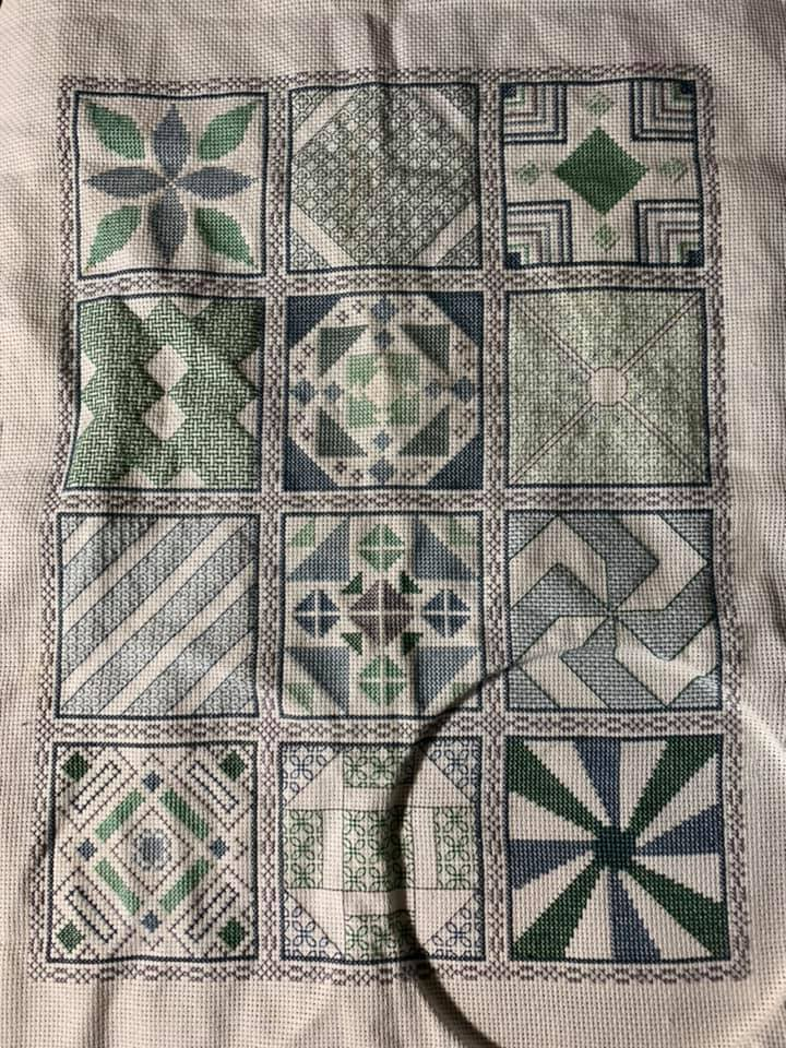 2019 Blackwork and Cross Stitch Stitchalong finished project stitched by Kristina Prater