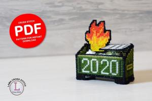 3D Dumpster Fire Pattern from LamaCrossStitch