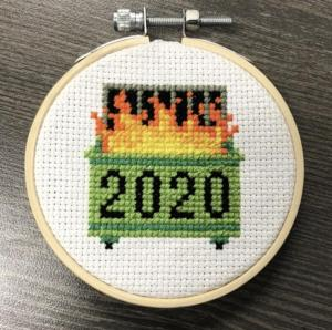 2020 Dumpster Fire Cross Stitch Pattern from GratefulThreadCrafts