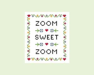 Zoom Sweet Zoom Cross Stitch Pattern from MarthaMaryStitchery