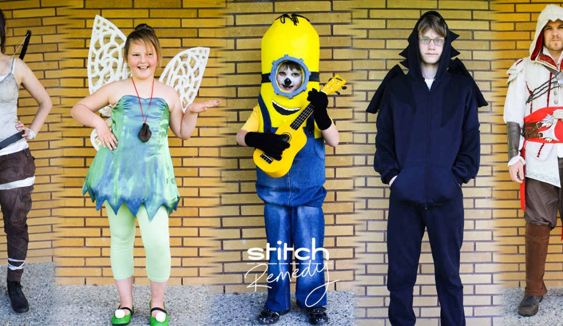 A Garment A Week - Week 43 - Costumes for halloween party - lara croft - tinkerbell - minion - dragon hoodie - ezio auditore - assassins creed - stitchremedy.com