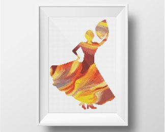 Flamenco abtract cross stitch pattern
