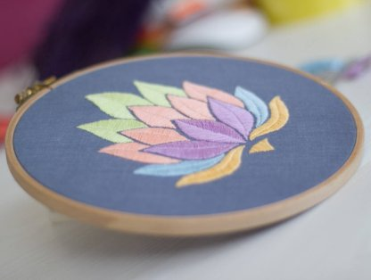 Lotus Flower Modern Embroidery Pattern