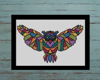 Owl geometric cross stitch pattern