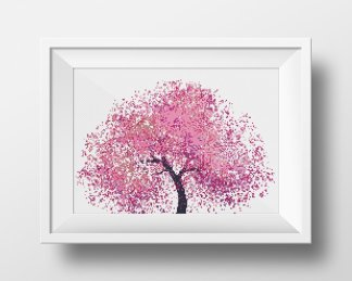 Pink Tree Floral Cross Stitch Pattern