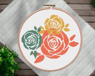 Roses-floral cross stitch pattern
