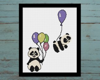 baloon-panda-nursery cross stitch pattern