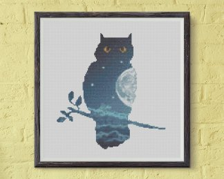 double exposure owl cross stitch pattern