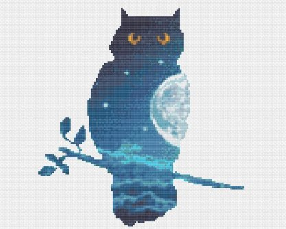 double exposure owl modern cross stitch pattern