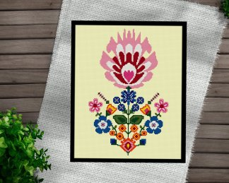 flower-Pot-cross stitch pattern