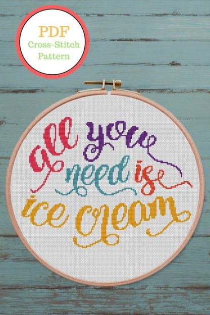 ice-cream-cross stitch pattern