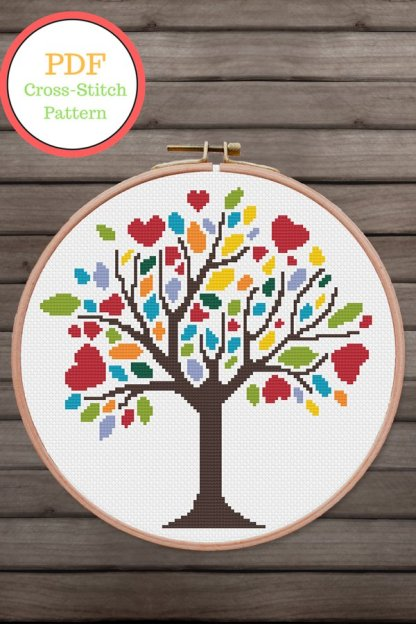 spring-tree- modern cross stitch pattern