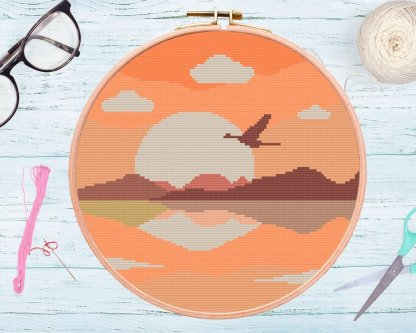 sunsetbird-cross-stitch-template