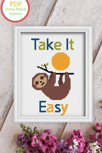 TIE--Sloth-PDF-cross-stitch-pattern