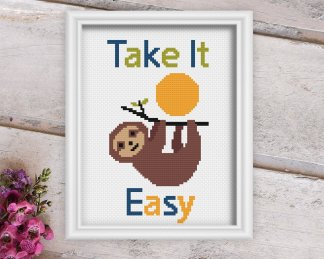 TIE--Sloth-cross-stitch-pattern