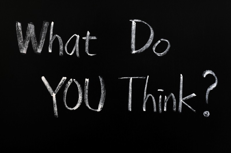 What do you think - written with chalk on a blackboard