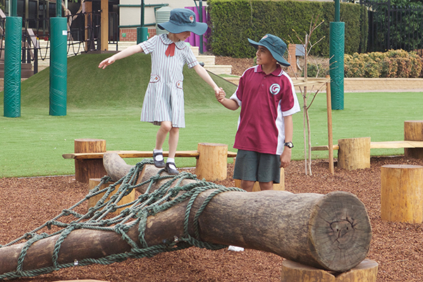St Josephs Catholic Primary School Belmore - students playing knots and crosses at the playground area of school