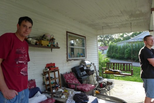 Chris Sutherlin and Robert Fraser on the porch at 762.