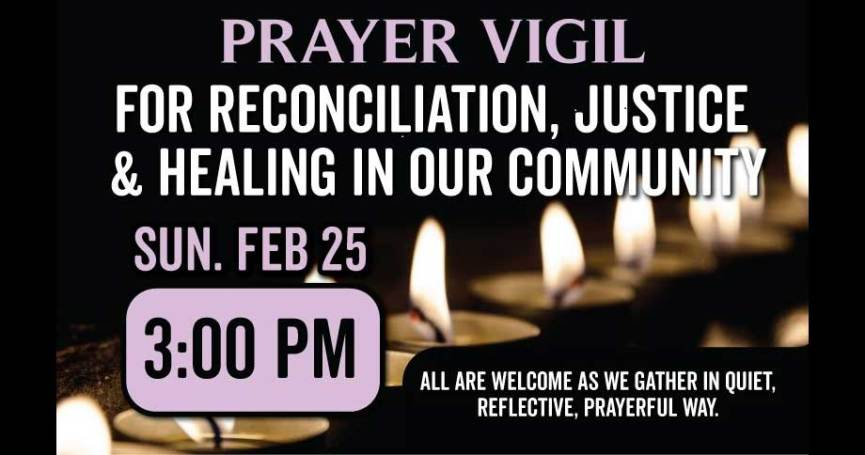 Prayer Vigil for reconciliation, justice, and healing at St. John's Cathedral Saskatoon