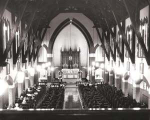 Black and white photo of Sisters Chapel in baden