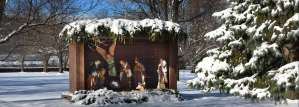 Snowy manger scene on the grounds of the Sisters of St. Joseph in Baden, PA.
