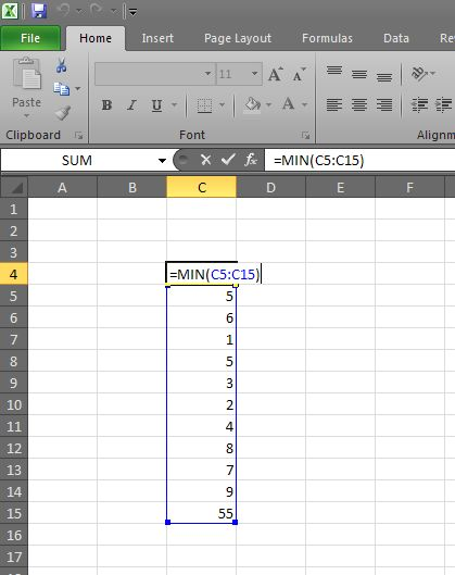 Finding the lowest number in Excel using Min function