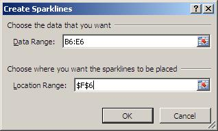 Excel Training in London - Sparklines Dialog