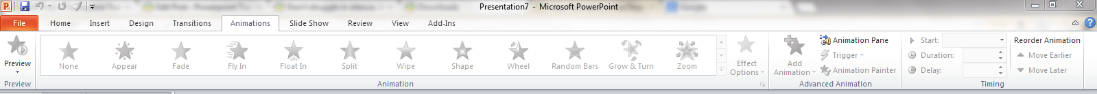 The Animations tab in Powerpoint 2007 and 2010