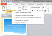 What is the quick access toolbar and what's it for?
