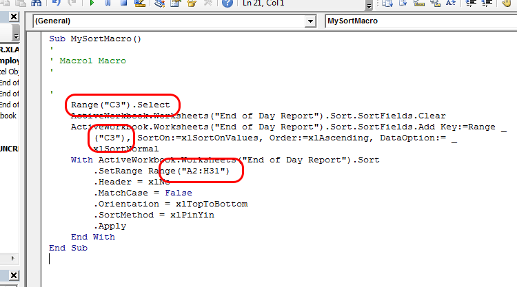 How do I sort in Excel VBA?