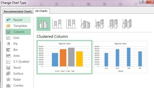 a basic clustered column in Excel