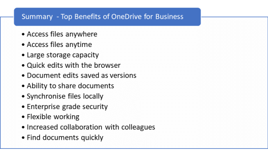 Summary of benefits of OneDrive for Business