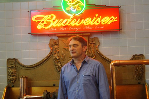 The president of Bosnia and Herzegovina, Zeljko Komsic, tours the Anheuser-Busch brewery in St. Louis