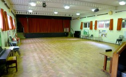 Inside the Church Hall. Stage at the end.