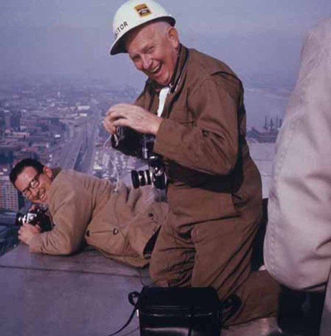Construction workers on the St. Louis Arch