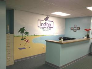travel agency mural and logo painting