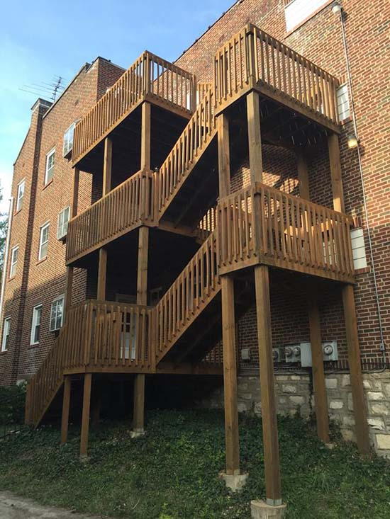 3 story deck staining