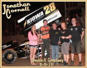 Defending track champion, Jonathan Cornell of Sedalia MO, wins the 2015 season opener at Double-X Speedway in California MO. Photo by track photographer Carol Wirts