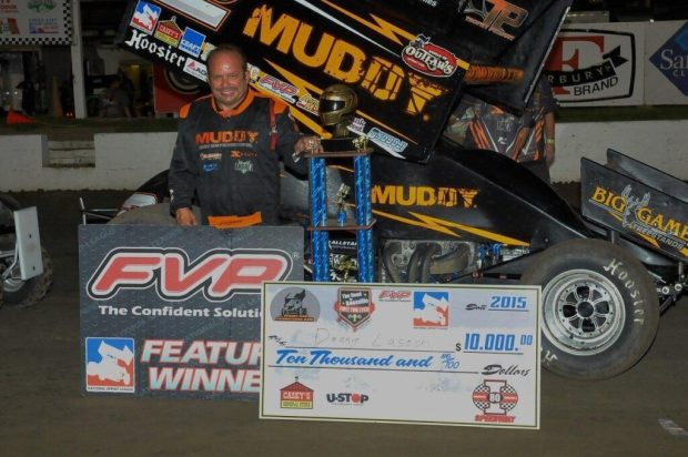 """Danny Lasoski took home $10,000 for winning the """"Road to Knoxville"""" main event Friday night at I-80 Speedway (Rob Kocak Photo)"""