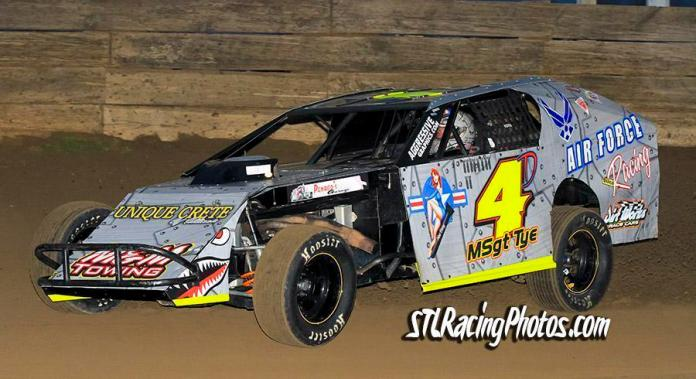 Doug Tye at Belle-Clair Speedway on March 18th, 2016.